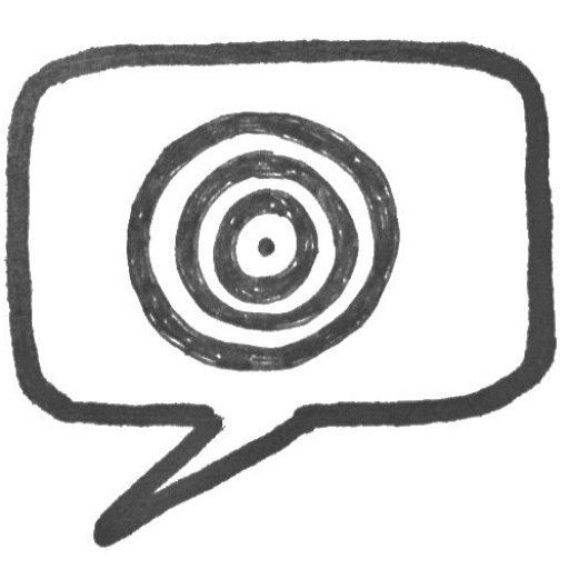 Einprägsames Logo für Texter - Sprechblase mit Zielscheibe ©AuFs WoRt